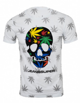 Tricou imprimeu all over Skull alb N14