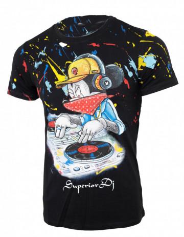 Tricou imprimeu Mickey negru N8