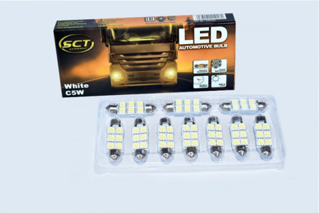 Set becuri LED C5W/10W LED 24V 6x5050 T11x39 / SV8,5 (10 BUC)