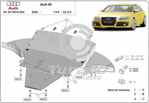 Scut motor metalic Audi A6 (4F2, C6) cu laterale