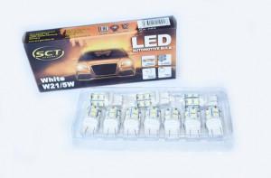 Set becuri LED W21/5W LED 12V 13x5050 W3x16q/T20 (10 BUC)