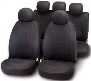 Set huse scaune rosu/negru