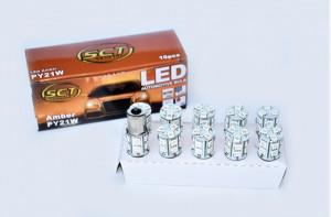 Set becuri LED PY21W LED 12V 13x5050 BAU15S AMBER (10 BUC)