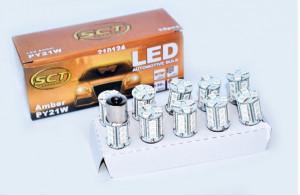 Set becuri LED PY21W LED 12V 18x5050 BAU15S AMBER (10 BUC)