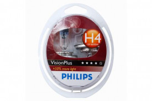 Set de 2 becuri H4 12V 60/55W P43t VISION PLUS (BLISTER)