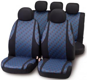 Set huse scaune Negru/Albastru