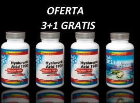 Poze 3 Best Hyaluronic Acid 1900 with Collagen Type II Tratament Naturist Artrita Reumatoida Coxartroza Gonartroza + 1 Best G-L-M Premium *