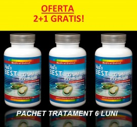 Poze OFERTA 2+ 1 GRATIS! G-L-M Premium Green Lipped Mussel (Perna canaliculus) Scoica cu Cochilie Verde 500 mg Pret 6 LUNI Coxartroza Gonartroza Hernie de Disc *