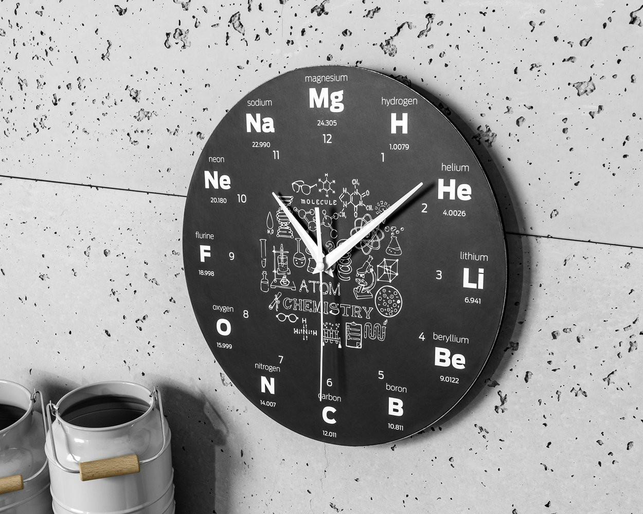 Ceas de perete elemente si simboluri chimice