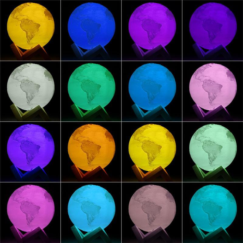 Lampa 3D Planeta Pamant LED