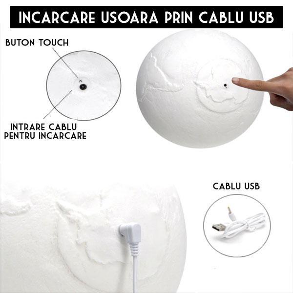 Lampa 3D Glob Pamantesc LED