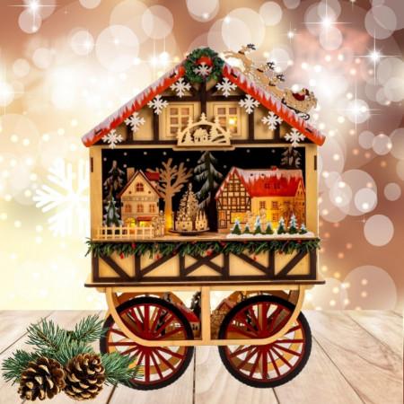 Cadou Craciun Market Car - Peisaj de iarna cu luminite Led, muzica si miscare