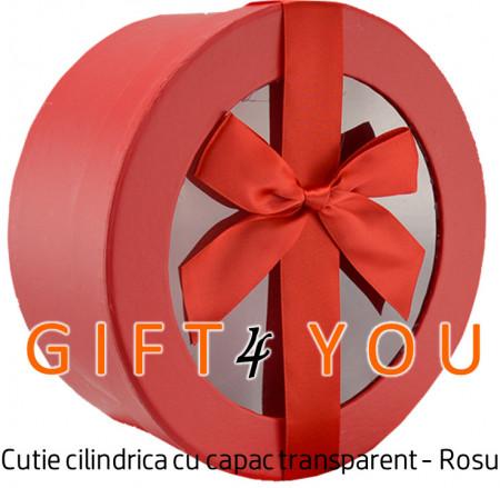 Cutie cadou rotunda cu capac transparent - Rosu