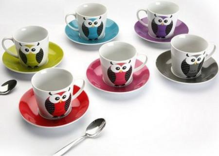 Set de cafea 6 bufnite colorate