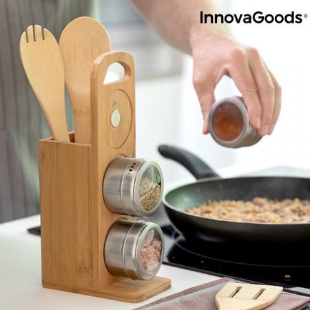 Stativ din bambus cu recipiente magnetice pentru condimente