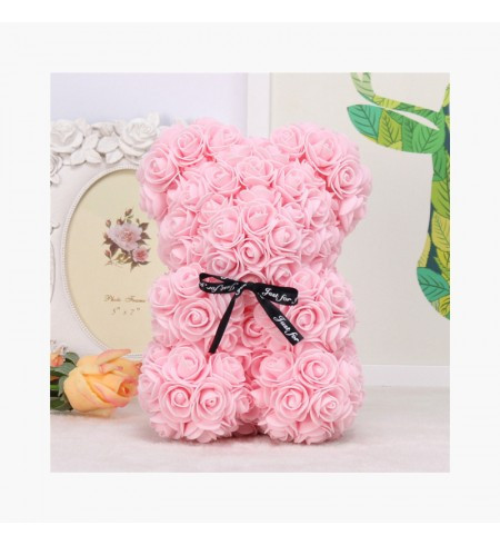 Ursulet romantic decorat cu miniroze roz - Rose Bear