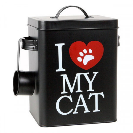 Recipient metalic 6,2 Litri pentru pastrare hrana uscata pisici - I Love My Cat