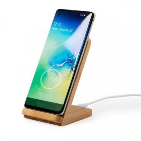 Incarcator wireless cu stativ din bambus pentru smartphone