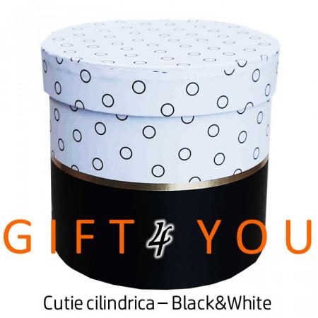 "Cutie cadou rotunda ""Black&White"""