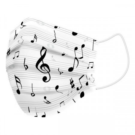 Masca igienica reutilizabila din panza Note Muzicale ♪♫