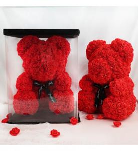 Ursulet romantic decorat cu miniroze rosii - Rose Bear