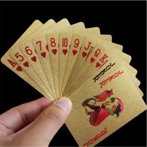 Carti de joc Poker aurite model dolar