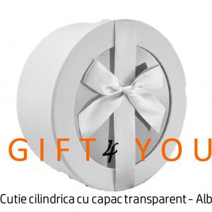 Cutie cadou rotunda cu capac transparent - Alba