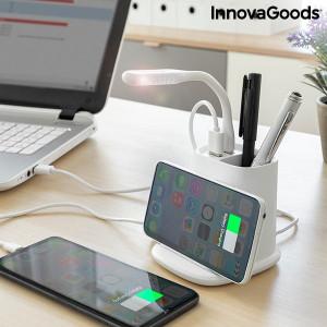 Organizator de birou cu lampa LED si incarcator wireless cu suport DesKING