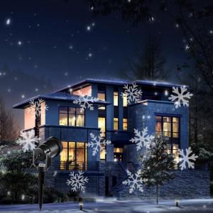 Proiector exterior cu fulgi albi si jocuri de lumini