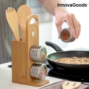 Set de rafturi cu recipiente magnetice pentru condimente