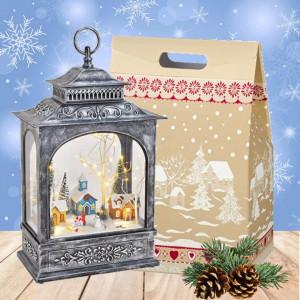 Cadou Craciun Winter Tale - Felinar muzical Peisaj de iarna cu luminite Led, muzica si repere in miscare
