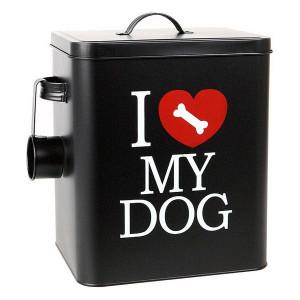Recipient metalic 15 Litri pentru pastrare hrana uscata caini - I Love My Dog