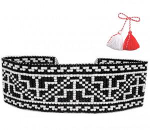 Bratara-martisor lata tesuta manual din margele foarte marunte Dar cu dor - motiv traditional negru cu alb