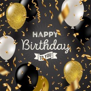 Felicitare aniversara Lux Happy Birthday - Black and Gold