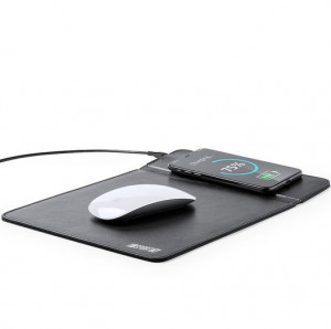 Mousepad cu incarcator wireless QI 1000 mAh, imitatie de piele neagra
