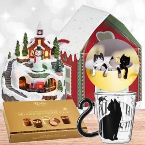 Cadou Magic Christmas cu Decor Trenuletul lui Mos Craciun, cu muzica, lumini si repere in miscare