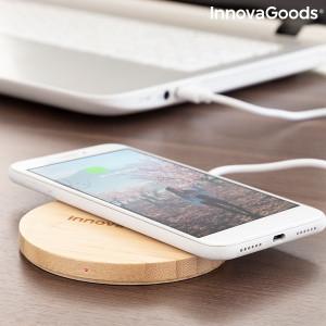 Incarcator wireless din bambus pentru smartphone