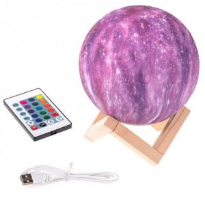 Lampa Galaxy 3D Luna cu 16 Culori LED, telecomanda si suport de lemn