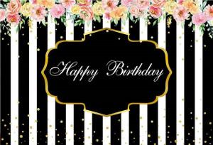 Felicitare aniversara Lux Happy Birthday - Black and White Stripes