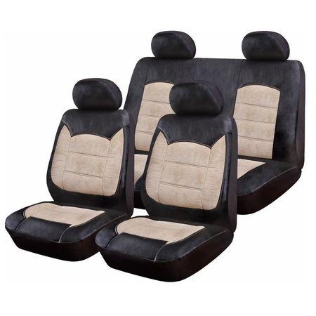 Huse Scaune Auto Luxury Negru Crem, 9 bucati