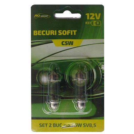 Set 2 becuri auto sofit 12V, 5W, C5W, SV8.5