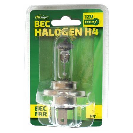 Bec auto cu halogen H4 RoGroup, 12V, 55W, P43T, 1 buc