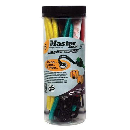 MASTERLOCK Corzi elastice 3040EURDAT, cu carlige duble, inversate, set 6 perechi de dimensiuni difer