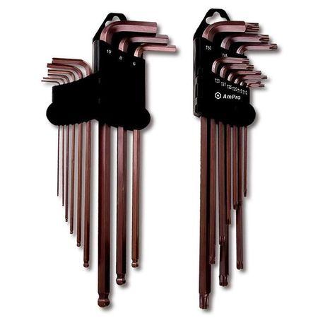 Set 9 chei imbus AmPro, extra lungi, cap sferic, 1.5-10 mm