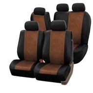 Huse scaun auto MTN Alcantara, negru-maro, 10 bucati