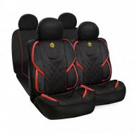 Huse scaune auto Momo, material textil elastic tip Alcantara, negru cu rosu, set 11 buc