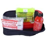 Kit siguranta auto RoGroup – trusa medicala, 2 x triunghi, stingator, vesta + geanta depozitare