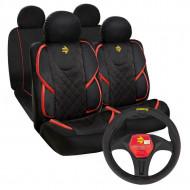 Pachet promo Huse scaune auto Momo, tip Alcantara, negru cu rosu & Husa volan Momo, negru cu rosu
