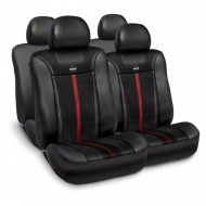Huse scaune auto Momo, piele ecologica cu ornamente tip carbon, negru cu rosu, set 11 buc
