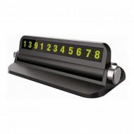 Suport afisaj numar telefon Siegbert, pentru parcare temporara, cu suport telefon, negru